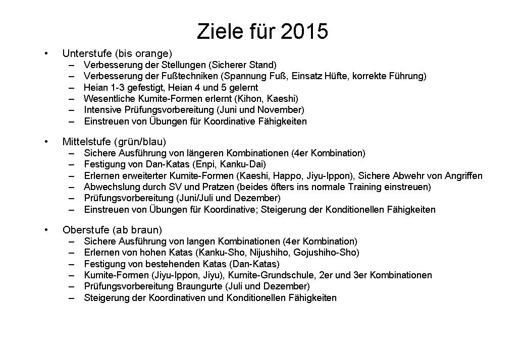 Trainingsziele 2015